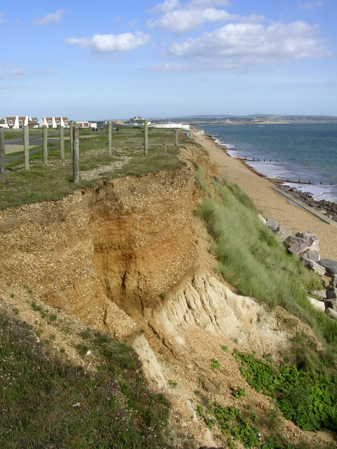 Crumbling cliffs west of Milford on Sea
