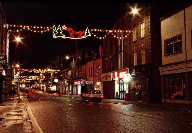 Church Street, Enfield, at Christmas