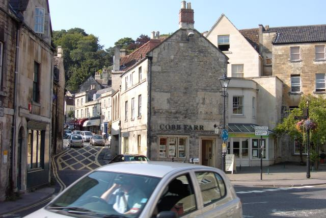 Narrow and steep streets in Bradford On Avon