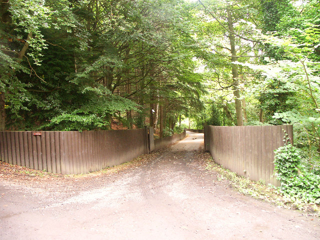Gates to Fordell Castle woodland path