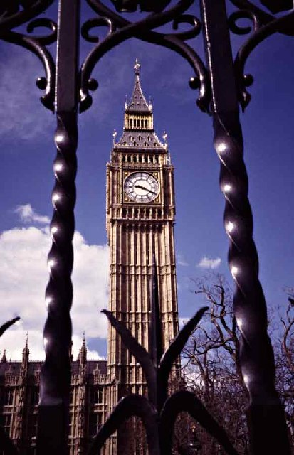 Clock Tower with Big Ben through the Gates of the House of Commons