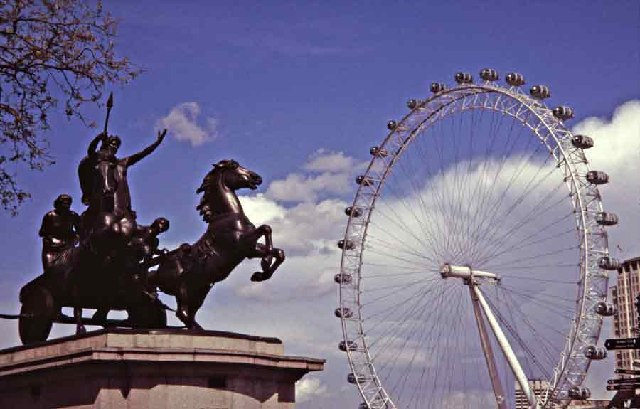 Boudicca with the London Eye in the Background