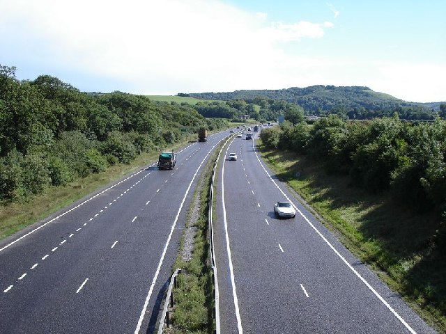 Looking south down the A23