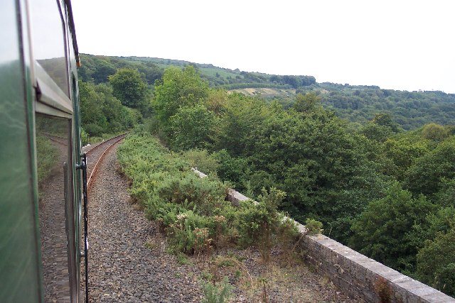 Train crossing Fatherford viaduct near Okehampton