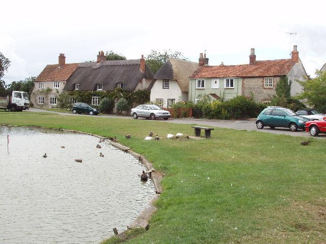 Duckpond by the church in Haddenham