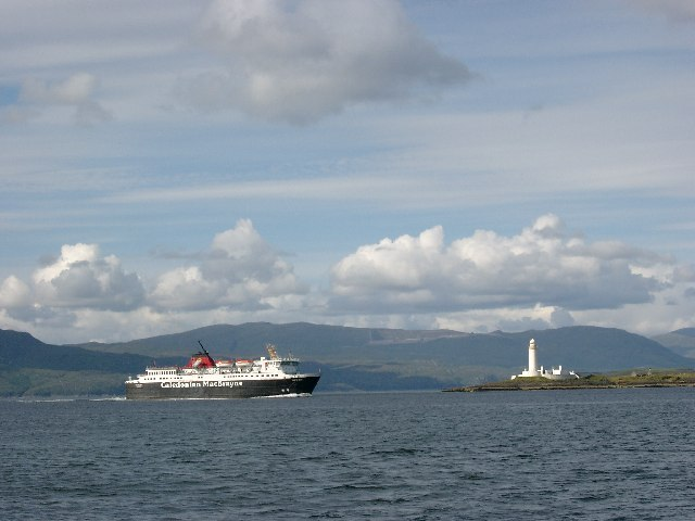 Mull ferry passing the Lismore Lighthouse