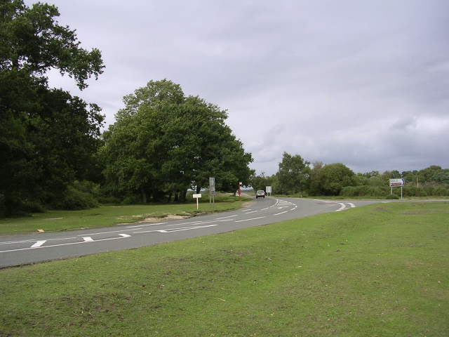 The Hill Top junction of the B3054, Beaulieu, New Forest
