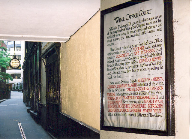 Ye Olde Cheshire Cheese and Wine Office Court, Fleet Street, London