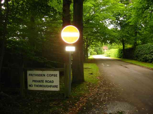 Entrance signs to private road, Frithsden Copse, nr Berkhamsted
