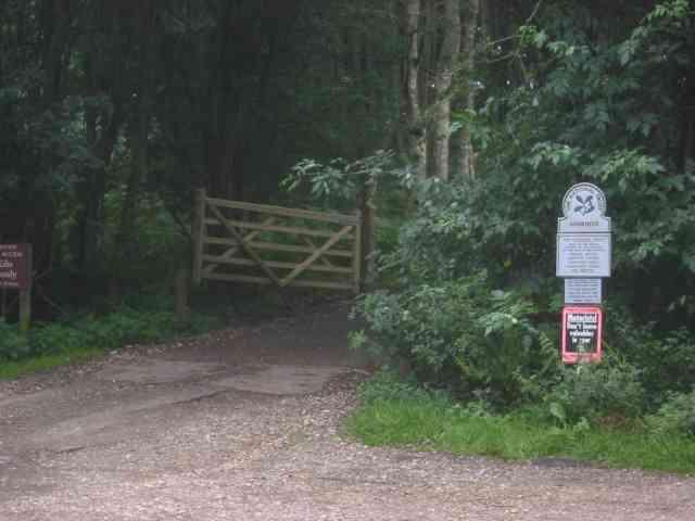 National Trust sign at Ashridge and gate to Brick Kiln Cottage