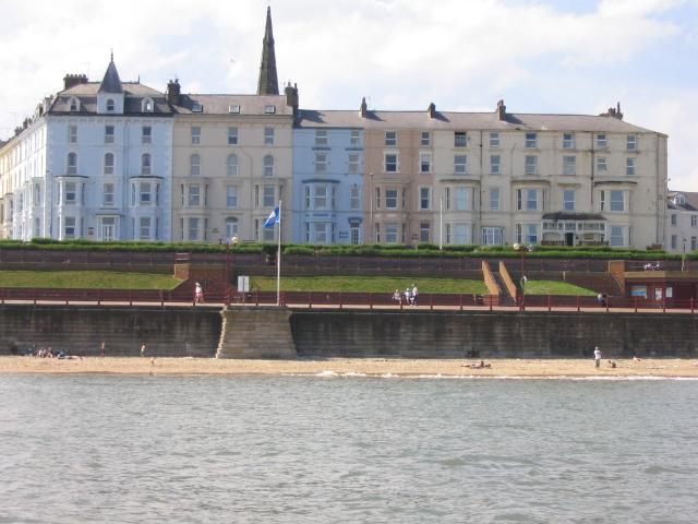 Bridlington beach, promenade & houses