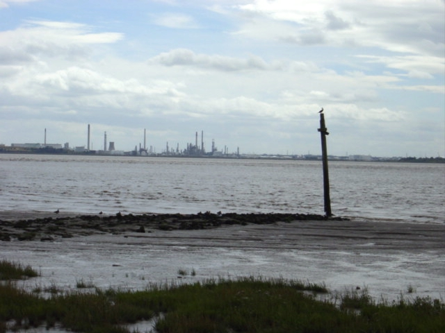 Oglet beach and Stanlow Oil Refinery