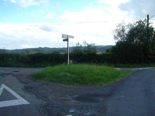 The turning for Stapleton (left) just north of Presteigne