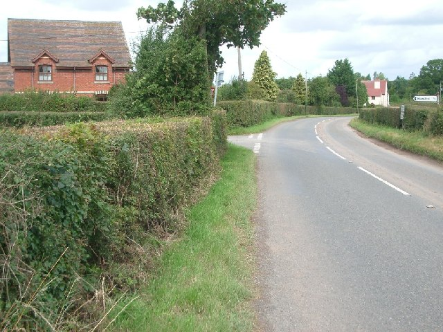 The turning for Rowden (left) near Winslow Grange