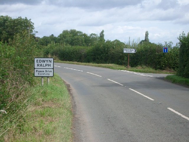 The turning for Edwyn Ralph church (right) just south of the village