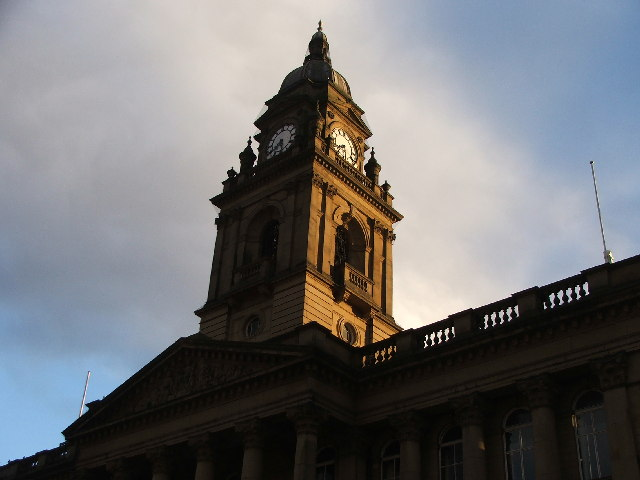 Morley Town Hall clock tower.