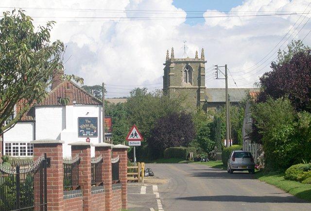Village pub and church, Tetford