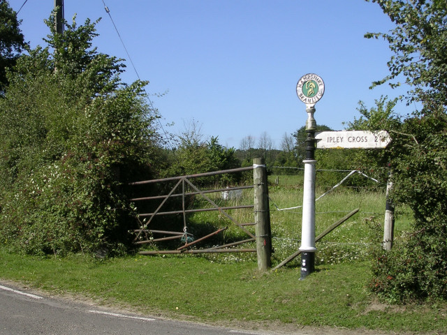Direction sign at the Leygreen Farm junction of the Beaulieu Road, New Forest