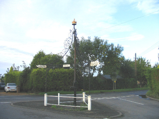 Village Pump and Road Signs, Boulge, Suffolk