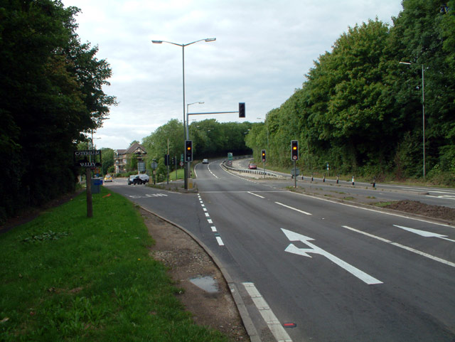 A22 Caterham Bypass junction with B2030 Godstone Road