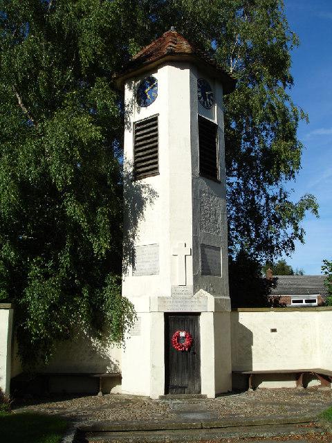 Hinxworth War memorial clock tower.