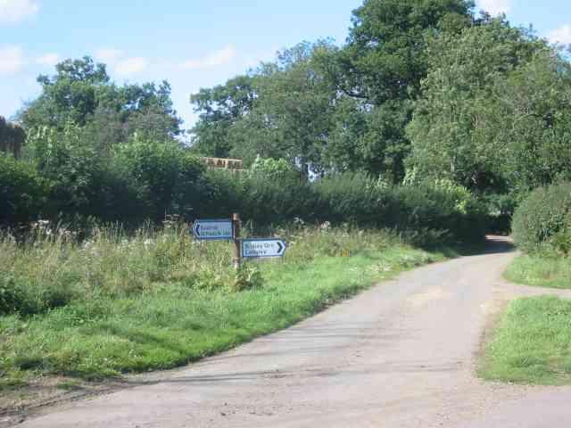 Road signpost at  Easthall