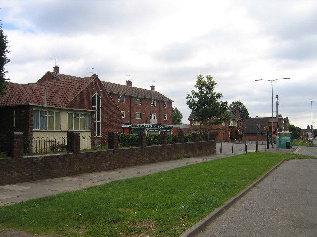 Two churches, some shops and a pub, Charter Avenue, Canley