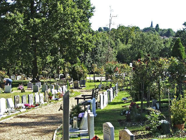 View from Graveyard, Brunswick Park Cemetery looking towards Christchurch.