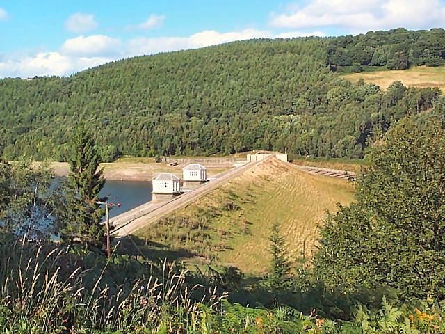 Dam of Lindley Wood reservoir