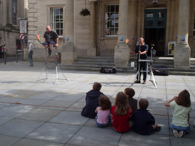 Performance outside Stroud Subscription Rooms