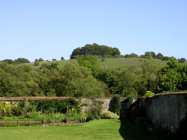 St Catherine's Hill from the walled garden of St Cross Hospital