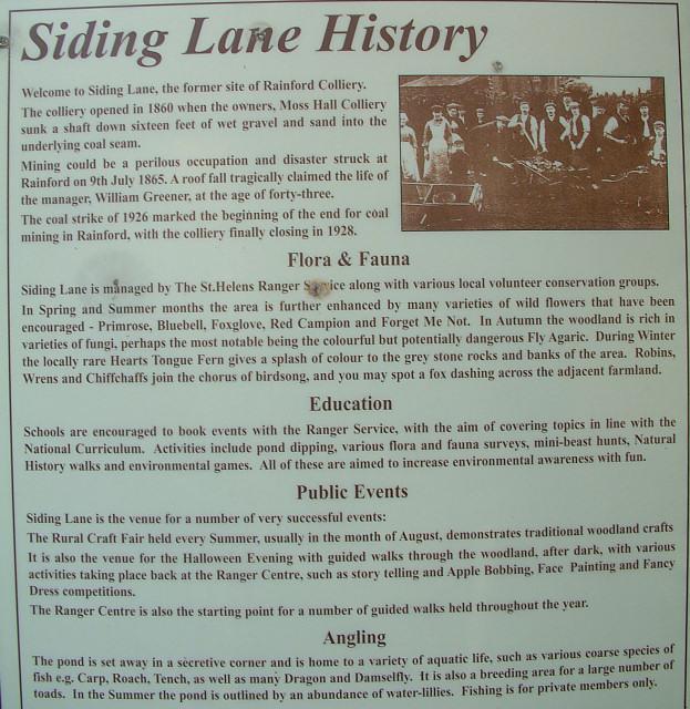 Siding Lane info board