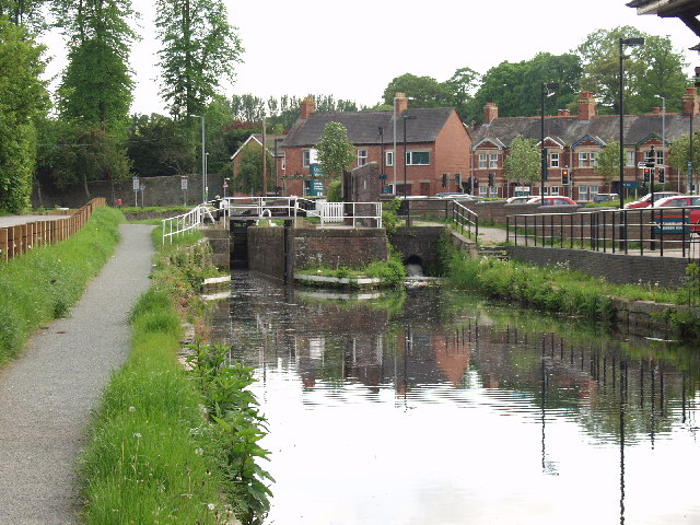 Montgomery Canal, restored lock in Welshpool
