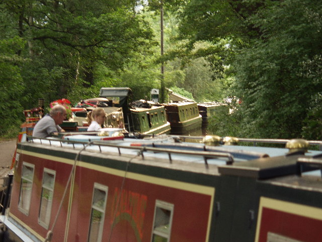 Busy. Busy. Busy. Boats on Llangollen Canal at Llangollen