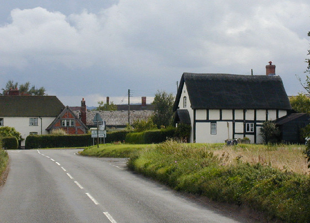 Timber-framed cottage along the old A5 road