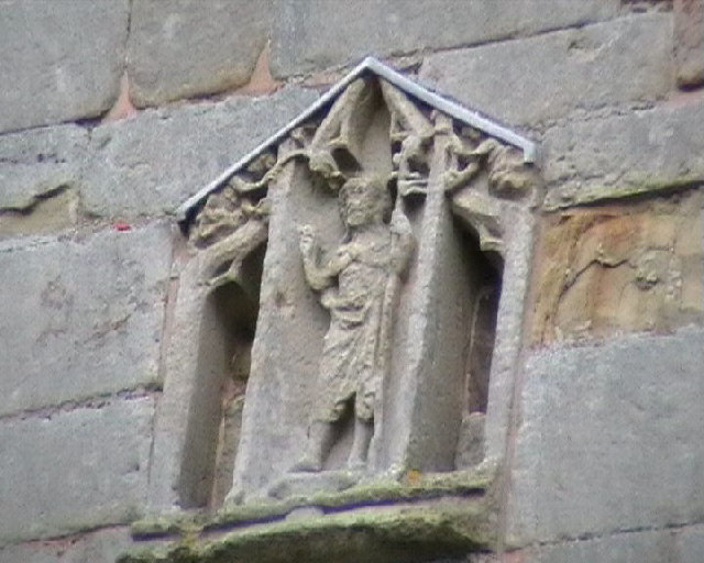 Detail from the church tower at Wroxeter.
