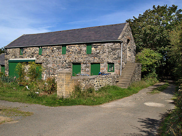Farm buildings,  Castle Lake.  Isle of Man.