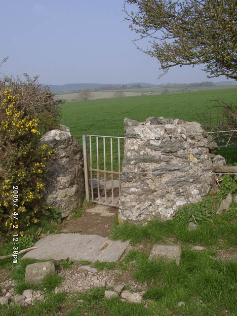 Kissing gate with stone slabs.
