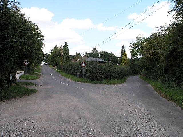 Road junction in a housing area near Chaldon