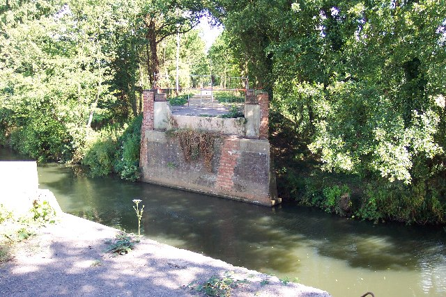 Demolished bridge over the River Wey