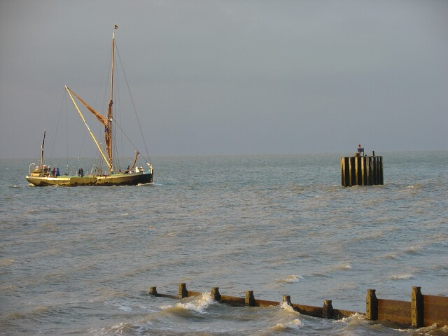 Boat entering Whitstable Harbour
