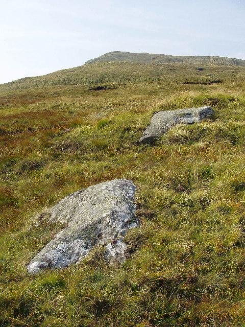 Twin rocks on featureless ridge