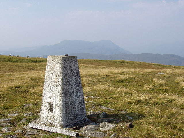 Trig point on the summit of the hill