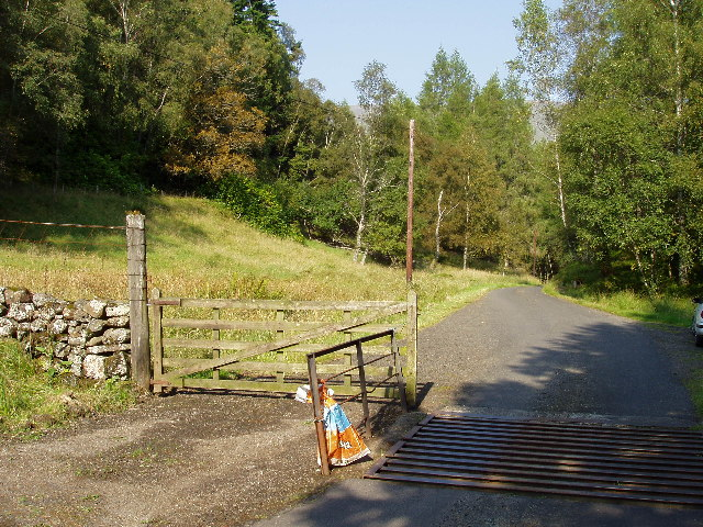 Cattle Grid and Gate on road in Glen Buckie
