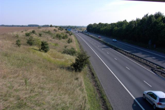 The M11 west of Grantchester