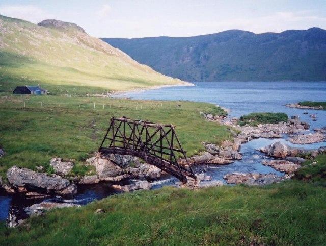 Bridge over Alder Burn and Benalder Cottage