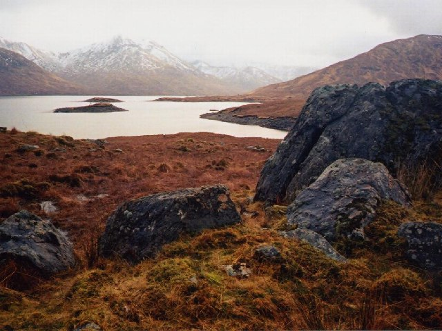Loch Quoich with Sgurr Mòr above the islands