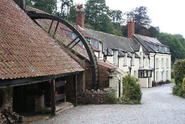 Holford: waterwheel at Combe House Hotel