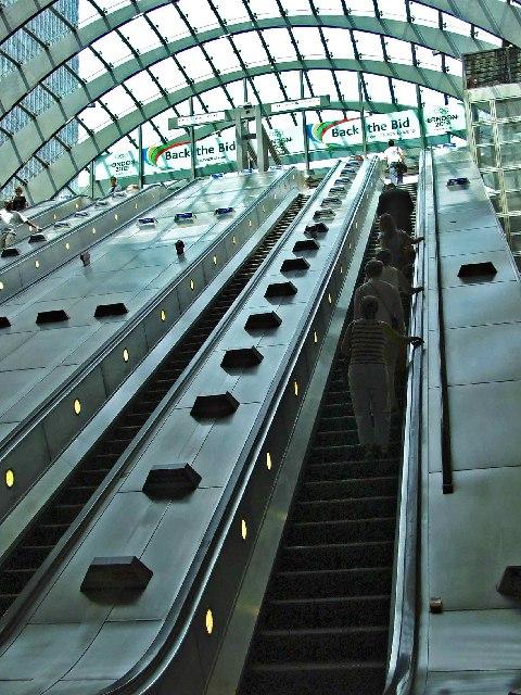 Canary Wharf Station Escalator from Jubilee Line