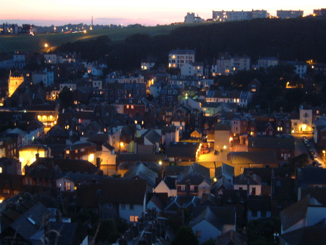 Hastings from East Cliff at Dusk